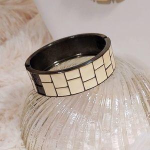 Vintage Ivory Enamel Inlay Wide Bangle Bracelet